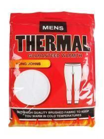 Mens White Thermal Long Johns