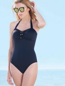 Womens Black Macrame Front Swimsuit