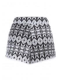 Womens Black Aztec Printed Shorts
