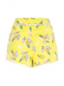 Womens Yellow Pineapple Printed Shorts