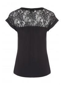 Womens Lace Panel Yoke T-Shirt