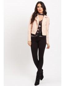 Jane Norman Pink PU Bomber Jacket