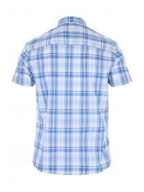 Mens Blue Short Sleeve Checked Shirt