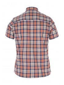 Mens Orange Short Sleeve Check Shirt
