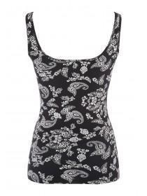 Womens Black Paisley Printed Vest