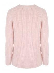 Womens Pink Ribbed Jumper