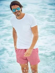Mens Red Print Swim Shorts