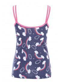 Womens Blue Rainbow Pyjama Cami Top