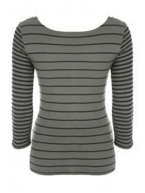 Womens Khaki Mixed Stripe Ribbed Top