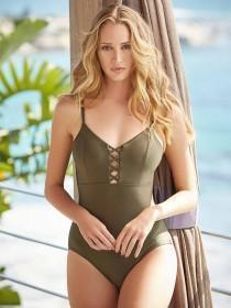 Womens Khaki Cross Front Swimsuit