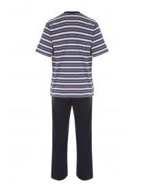 Mens Dark Blue Striped Jersey Pyjamas