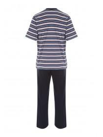 Mens Dark Blue Striped Jersey Pyjamas