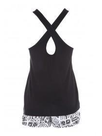Womens Black Novelty Top & Shorts