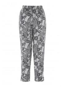 Womens Black Cropped Tapered Trousers
