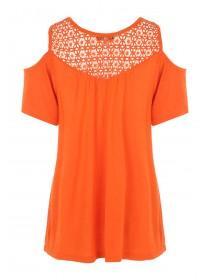 Womens Orange Crochet Cold Shoulder T-Shirt