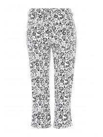 Womens Black Daisy Print Cropped Jeans