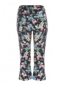 Womens Black Jungle Print Cropped Jeans