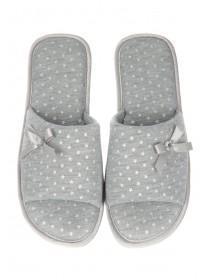 Womens Grey Basic Spa Slipper