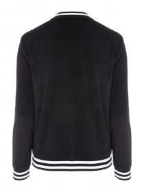 Womens Black Velour Crew Sweater