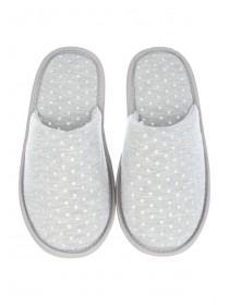 Womens Grey Closed Toe Spa Slippers