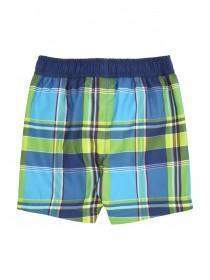 Younger Boys Green Checked Swim Shorts