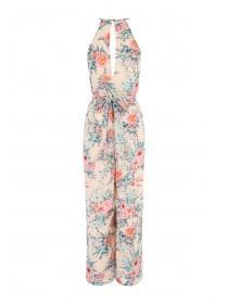 Womens Tan Floral Halter Neck Chiffon Jumpsuit