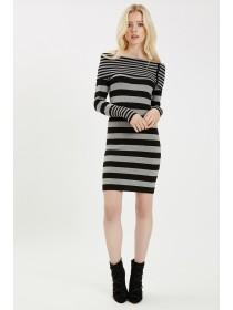 Jane Norman Grey Stripe Bardot Jumper Dress