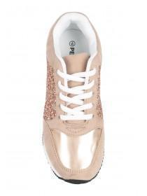Older Girls Pink Glitter Trainers