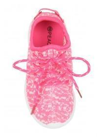Younger Girls Pink Knitted Upper Trainer
