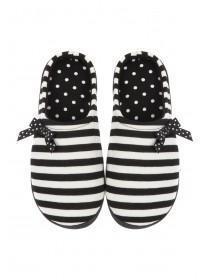 Womens Black Striped Comfort Support Slipper