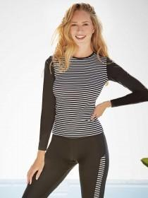 Womens Black Long Sleeved Rash Vest