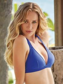 Womens Blue Triangle Halter Neck Bikini Top