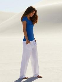 Womens White Straight Linen Trousers