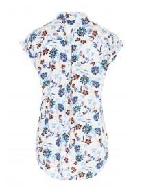 Womens Cream Floral Print Blouse