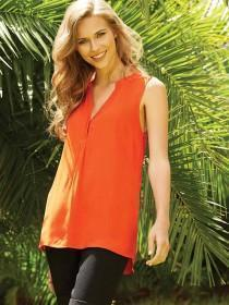 Womens Red Sleeveless Viscose Blouse