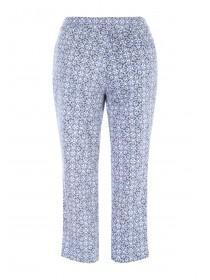 Womens Blue Tile Cotton Sateen Cropped Trousers