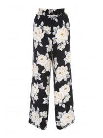 Womens Black Rose Palazzo Crepe Trousers