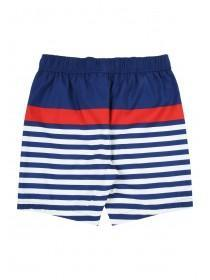 Younger Boys Blue Striped Colour Block Swim Shorts