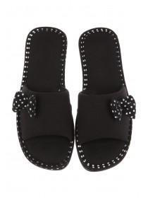 Womens Black Spa Style Slippers