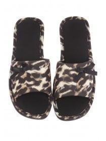 Womens Brown Leopard Butterfly Spa Slipper