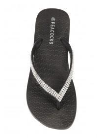 Womens Black Diamante Beach Sandals