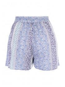 Womens Blue Cheesecloth Shorts