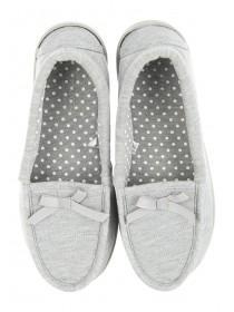 Womens Grey Moccasin Slipper