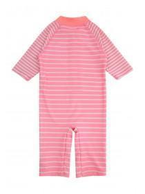 Younger Girls Pink Striped Sunsafe Suit