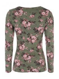 Womens Long Sleeve All Over Print Crew Top