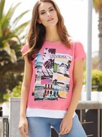 Womens Pink Woven Printed T-Shirt