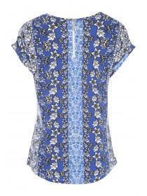 Womens Mid-Blue Floral Zip Back T-Shirt