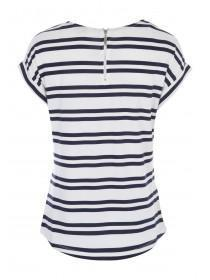 Womens White Striped Zip Back T-Shirt