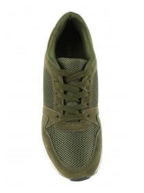 Womens Khaki Mesh Retro Runner Shoe