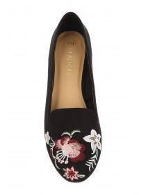 Womens Black Embroidery Loafer Shoe